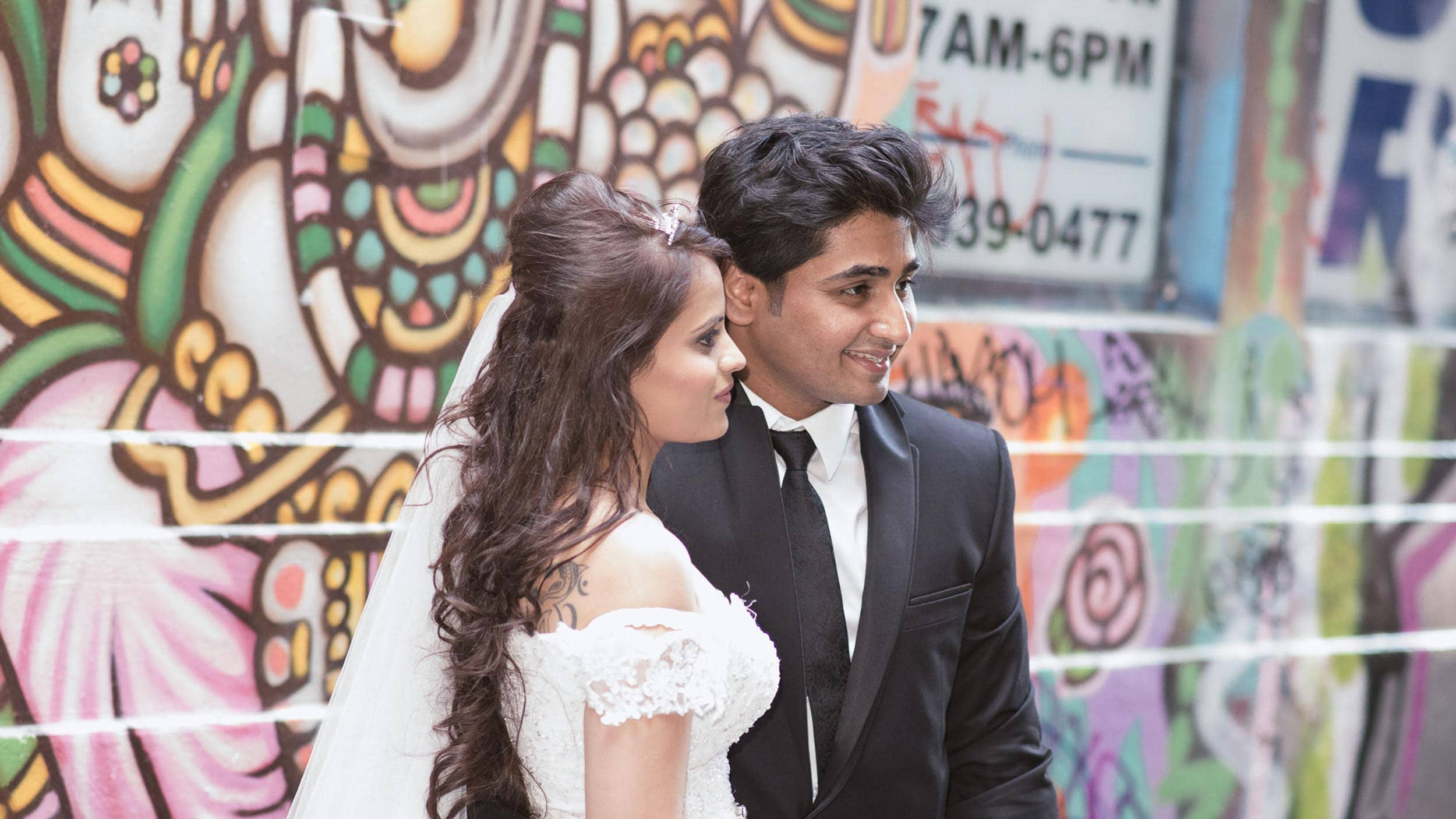 Wedding Photography Melbourne - Pause The Moment - Indian couple pose in Hosier Lane