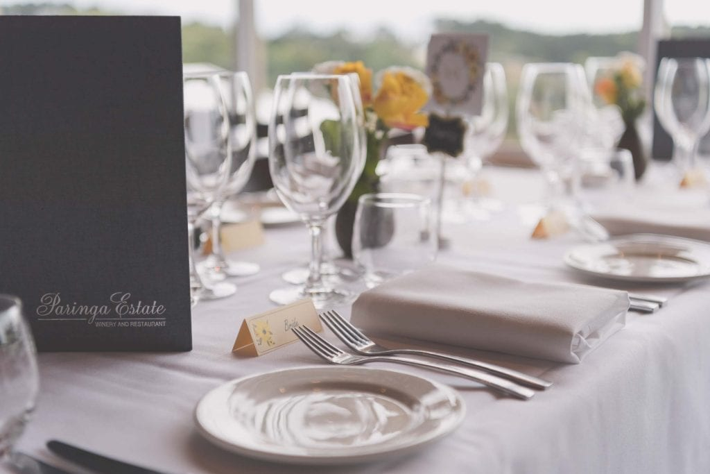 Paringa Estate table setting for a wedding